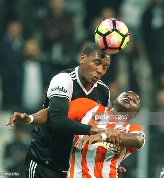 Marcelo of Besiktas in action against Magaye Serigne Nelson of Adanaspor during the Turkish Spor Toto Super Lig football match between Besiktas and...