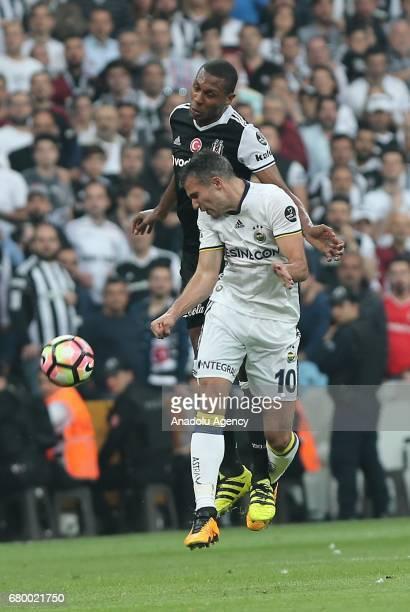 Marcelo of Besiktas in action against Robin Van Persie of Fenerbahce during Turkish Spor Toto Super Lig soccer match between Besiktas and Fenerbahce...