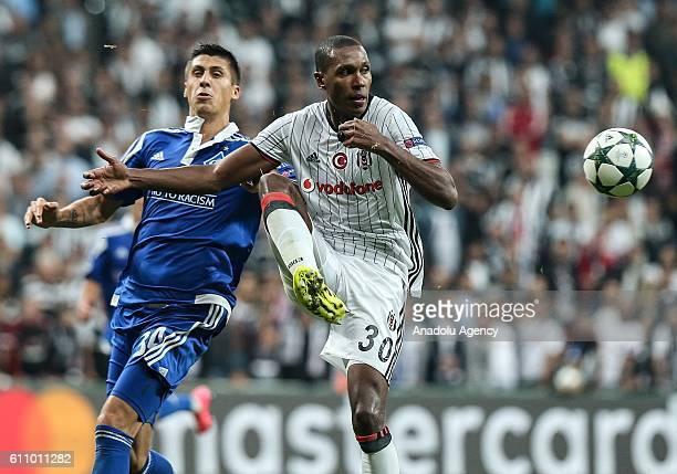 Marcelo of Besiktas in action against Yevhen Khacheridi of Dinamo Kiev during the UEFA Champions League football match between Besiktas and Dinamo...