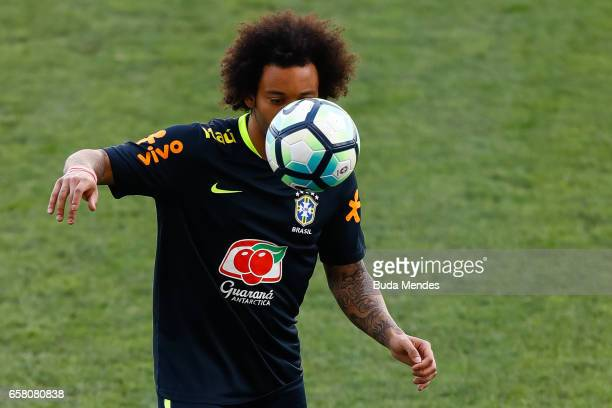 Marcelo of Brazil controls the ball during a training session at Arena Corinthians on March 26 2017 in Sao Paulo Brazil