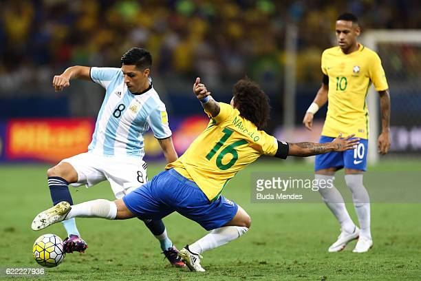 Marcelo of Brazil struggles for the ball with Enzo Perez of Argentina during a match between Brazil and Argentina as part of 2018 FIFA World Cup...