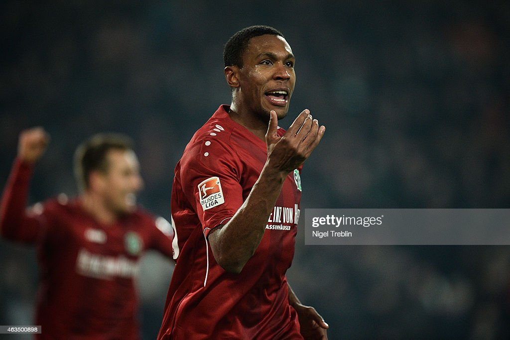 Marcelo of Hannover celebrates scoring his goal during during the Bundesliga match between Hannover 96 and SC Paderborn 07 at HDIArena on February 15...