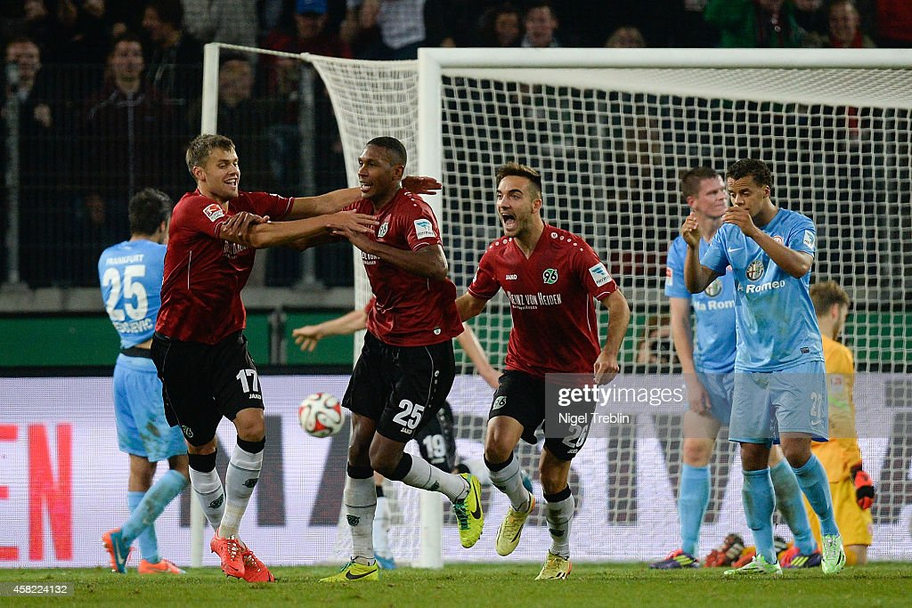 Marcelo of Hannover celebrates scoring his goal during the Bundesliga match between Hannover 96 and Eintracht Frankfurt at HDIArena on November 1...