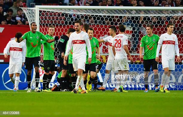 Marcelo of Hannover celebrates the team's second goal during the Bundesliga match between VfB Stuttgart and Hannover 96 at MercedesBenz Arena on...
