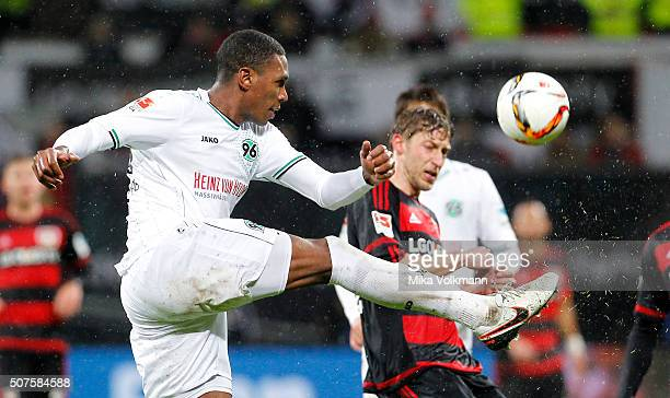 Marcelo of Hannover kicks the ball during the Bundesliga match between Bayer Leverkusen and Hannover 96 at BayArena on January 30 2016 in Leverkusen...