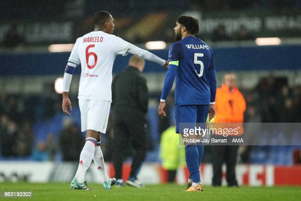 Marcelo of Olympique Lyonnais and Ashley Williams of Everton have a disagreement at full time during the UEFA Europa League group E match between...