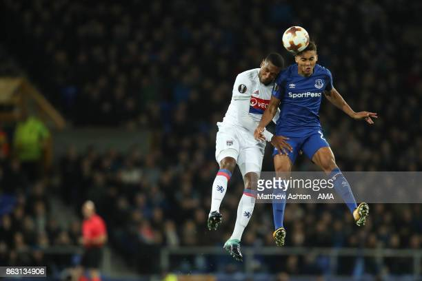 Marcelo of Olympique Lyonnais and Dominic CalvertLewin of Everton during the UEFA Europa League group E match between Everton FC and Olympique Lyon...