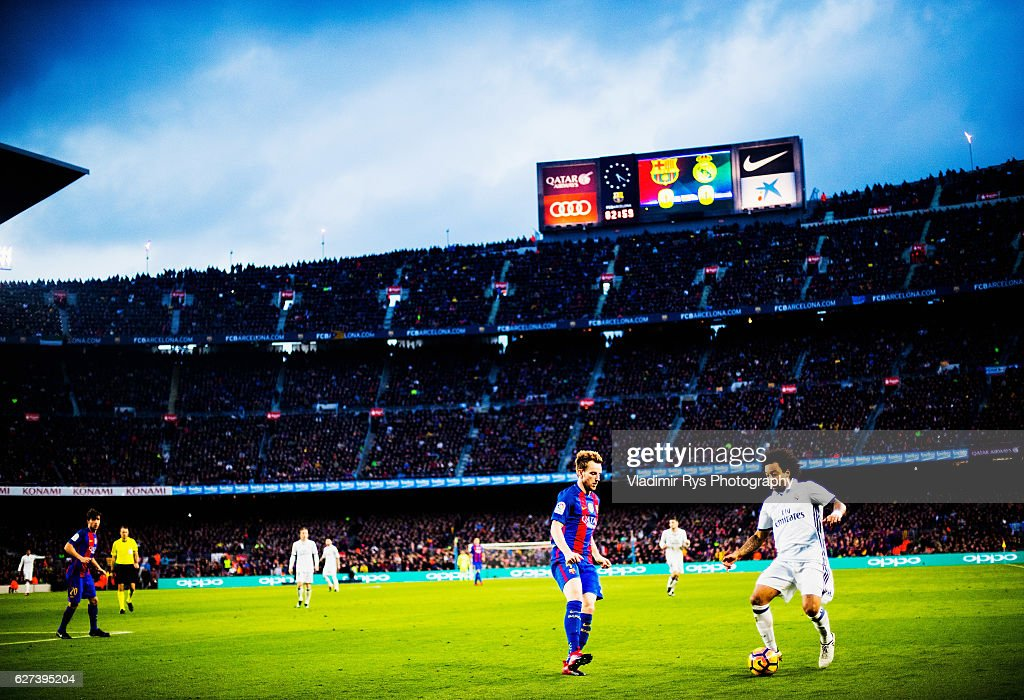 Marcelo of Real Madrid and Ivan Rakitic of Barcelona are seen during the La Liga match between FC Barcelona and Real Madrid CF at Camp Nou stadium on...