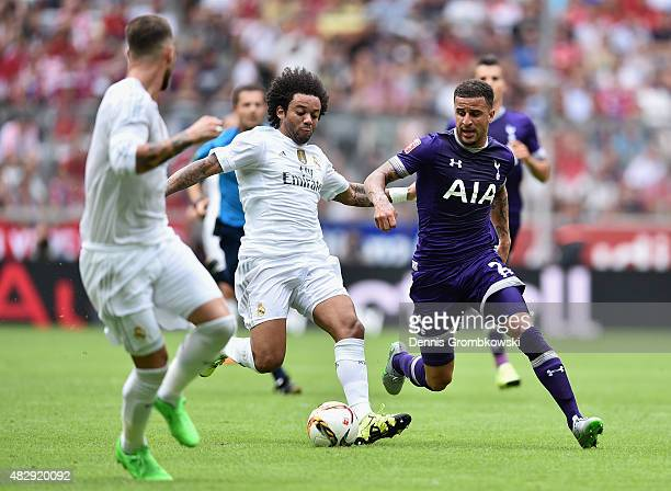 Marcelo of Real Madrid and Kyle Walker of Tottenham Hotspur chase the ball during the Audi Cup 2015 match between Real Madrid and Tottenham Hotspur...