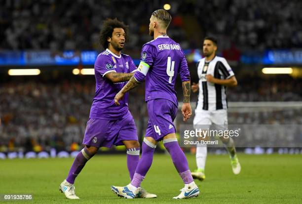 Marcelo of Real Madrid and Sergio Ramos of Real Madrid speak during the UEFA Champions League Final between Juventus and Real Madrid at National...