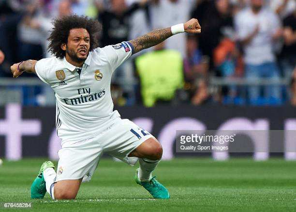 Marcelo of Real Madrid celebrates a goal during the UEFA Champions League Semi Final first leg match between Real Madrid CF and Club Atletico de...
