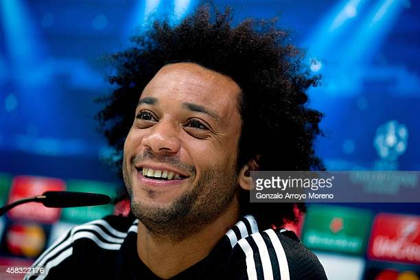 Marcelo of Real Madrid CF answers questions from the media during a press conference ahead of the UEFA Champions League match against Liverpool FC at...