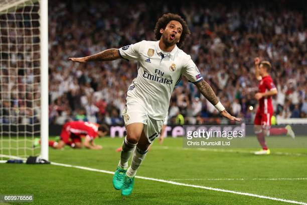 Marcelo of Real Madrid CF celebrates providing the assist for his team's third goal during the UEFA Champions League Quarter Final second leg match...