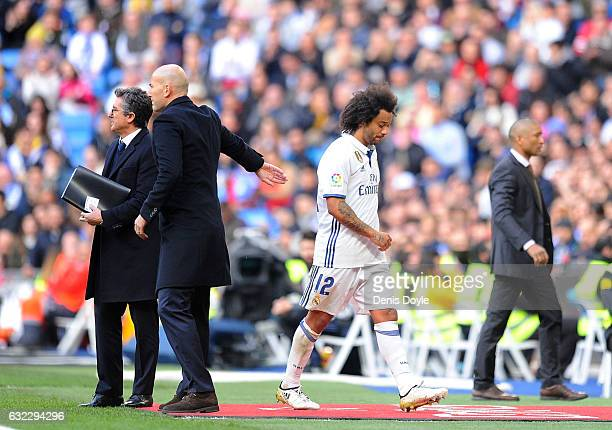 Marcelo of Real Madrid CF comes off substituted during the La Liga match between Real Madrid CF and Malaga CF at the Bernabeu on January 21 2017 in...