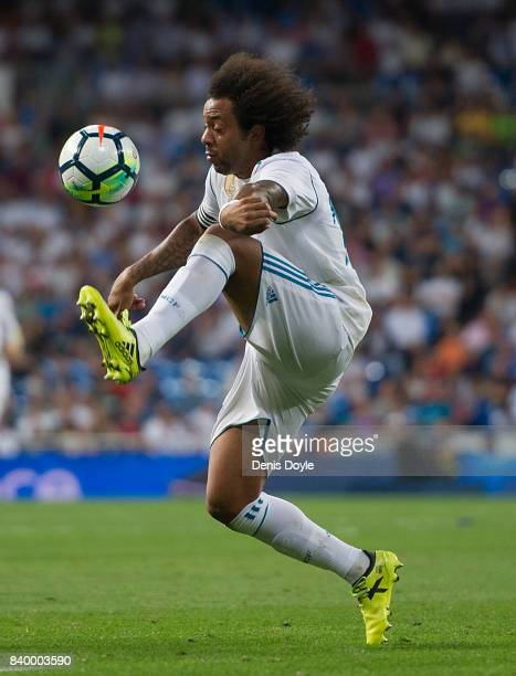 Marcelo of Real Madrid CF controls the ball during the La Liga match between Real Madrid CF and Valencia CF at Estadio Santiago Bernabeu on August 27...