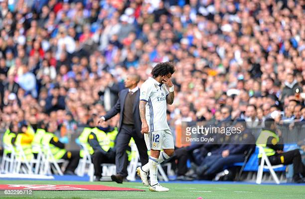 Marcelo of Real Madrid CF is substituted during the La Liga match between Real Madrid CF and Malaga CF at the Bernabeu on January 21 2017 in Madrid...