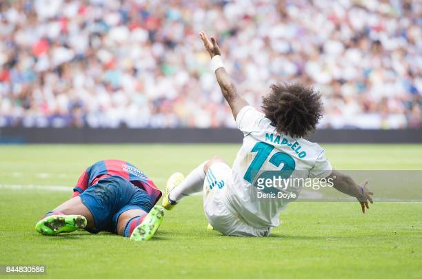 Marcelo of Real Madrid CF reacts after fouling Jefferson Lerma of Levante during the La Liga match between Real Madrid and Levante at Estadio...