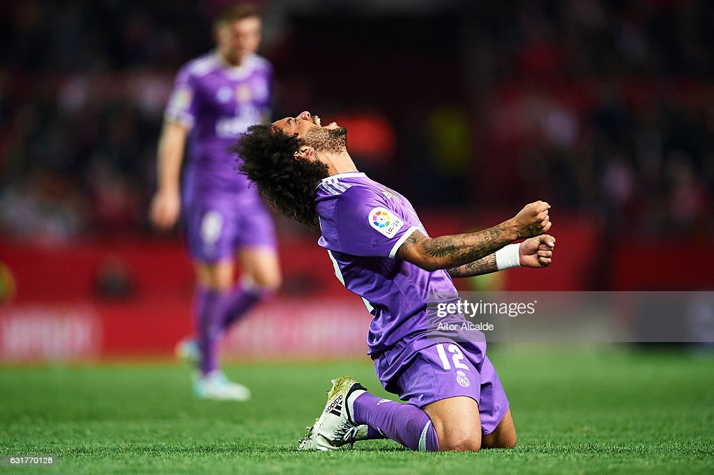 Marcelo of Real Madrid CF reacts during the La Liga match between Sevilla FC and Real Madrid CF at Estadio Ramon Sanchez Pizjuan on January 15, 2017 in Seville, Spain.