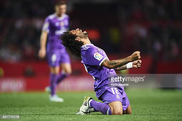 Marcelo of Real Madrid CF reacts during the La Liga match between Sevilla FC and Real Madrid CF at Estadio Ramon Sanchez Pizjuan on January 15 2017...