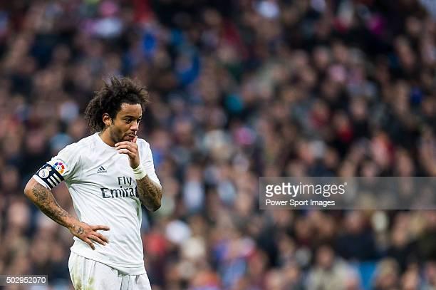 Marcelo of Real Madrid CF reacts during the Real Madrid CF vs Real Sociedad as part of the Liga BBVA 20152016 at Estadio Santiago Bernabeu on...