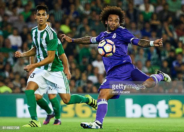 Marcelo of Real Madrid CF shoots for score a goal during the match between Real Betis Balompie and Real Madrid CF as part of La Liga at Benito...