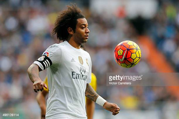 Marcelo of Real Madrid controls the ball during the La Liga match between Real Madrid CF and UD Las Palmas at Estadio Santiago Bernabeu on October 31...