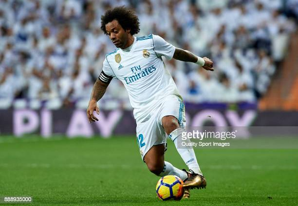 Marcelo of Real Madrid controls the ball during the La Liga match between Real Madrid and Sevilla at Estadio Santiago Bernabeu on December 9 2017 in...