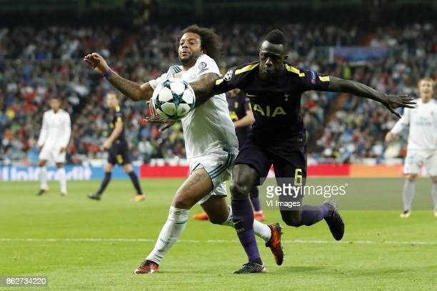 Marcelo of Real Madrid Davinson Sanchez of Tottenham Hotspur FC during the UEFA Champions League group H match between Real Madrid and Tottenham...