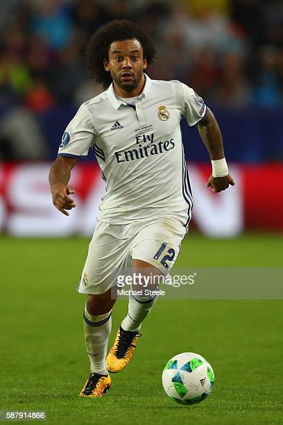 Marcelo of Real Madrid during the UEFA Super Cup match between Real Madrid and Sevilla at Lerkendal Stadium on August 9 2016 in Trondheim Norway
