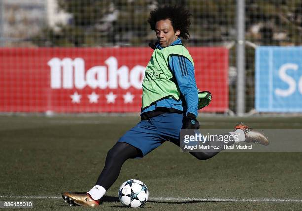 Marcelo of Real Madrid in action during a training session at Valdebebas training ground on December 5 2017 in Madrid Spain