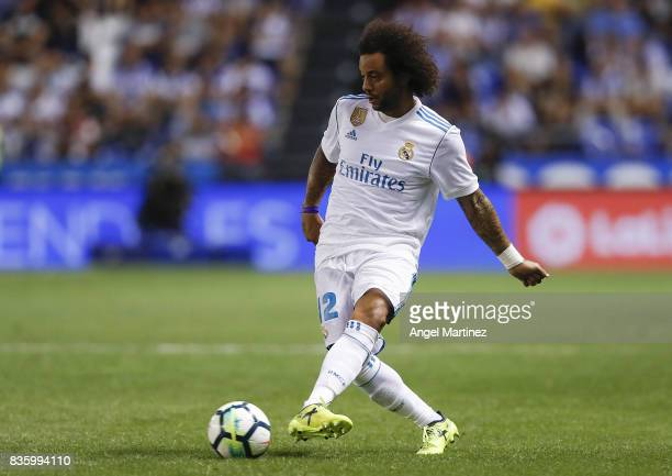 Marcelo of Real Madrid in action during the La Liga match between Deportivo La Coruna and Real Madrid CF at Riazor Stadium on August 20 2017 in La...