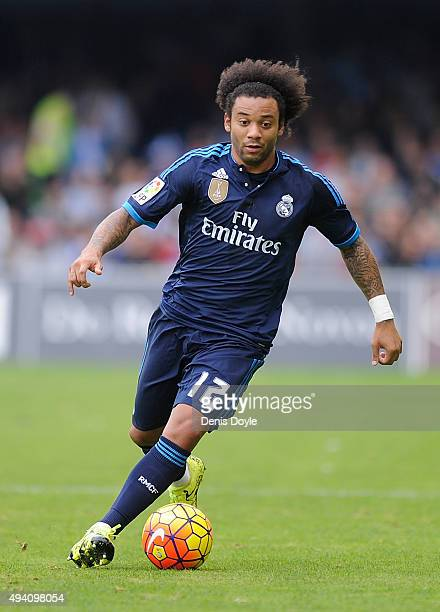 Marcelo of Real Madrid in action during the La Liga match between Celta Vigo and Real Madrid at Estadio Balaidos on October 24 2015 in Vigo Spain