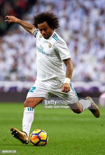 Marcelo of Real Madrid in action during the La Liga match between Real Madrid and Sevilla at Estadio Santiago Bernabeu on December 9 2017 in Madrid...
