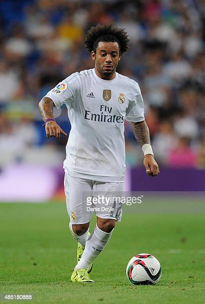 Marcelo of Real Madrid in action during the Santiago Bernabeu Trophy match between Real Madrid and Galatasaray at Estadio Santiago Bernabeu on August...