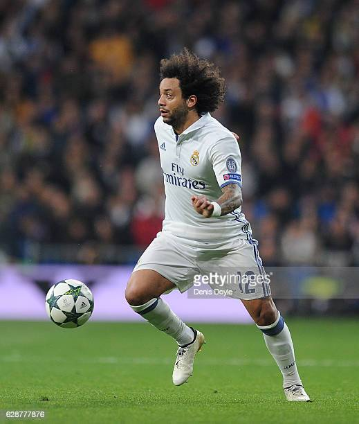 Marcelo of Real Madrid in action during the UEFA Champions League Group F match between Real Madrid CF and Borussia Dortmund at the Bernabeu on...