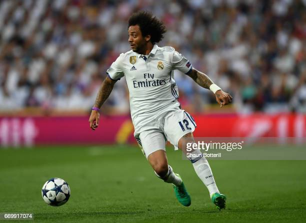 Marcelo of Real Madrid in action during the UEFA Champions League Quarter Final second leg match between Real Madrid CF and FC Bayern Muenchen at...