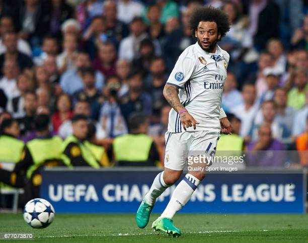 Marcelo of Real Madrid in action during the UEFA Champions League semifinal first leg match between Real Madrid CF and Club Atletico de Madrid at...