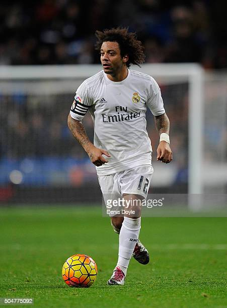 Marcelo of Real Madrid in ation during the La Liga match between Real Madrid CF and RC Deportivo La Coruna at Estadio Santiago Bernabeu on January 9...