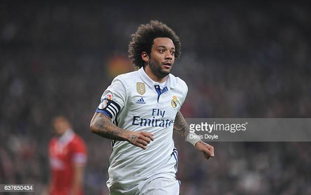 Marcelo of Real Madrid looks on during the Copa del Rey Round of 16 First Leg match between Real Madrid and Sevilla at Bernabeu on January 4 2017 in...