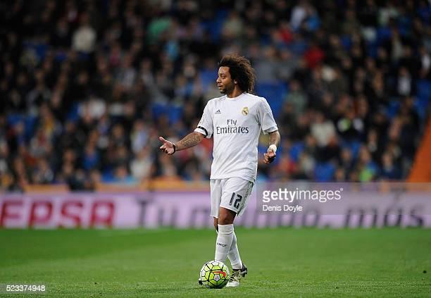 Marcelo of Real Madrid looks on during the La Liga match between Real Madrid and Villarreal at Estadio Santiago Bernabeu on April 20 2016 in Madrid...
