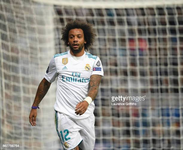 Marcelo of Real Madrid looks on during the UEFA Champions League group H match between Real Madrid and Tottenham Hotspur at Estadio Santiago Bernabeu...