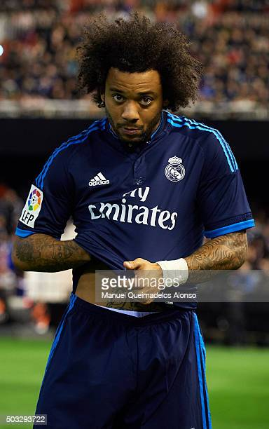 Marcelo of Real Madrid looks on prior to the La Liga match between Valencia CF and Real Madrid CF at Estadi de Mestalla on January 03 2016 in...