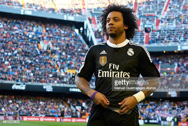 Marcelo of Real Madrid looks on prior to the start of the La Liga match between Valencia CF and Real Madrid CF at Estadi de Mestalla on January 4...