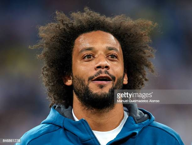 Marcelo of Real Madrid looks on prior to the UEFA Champions League group H match between Real Madrid and APOEL Nikosia at Estadio Santiago Bernabeu...