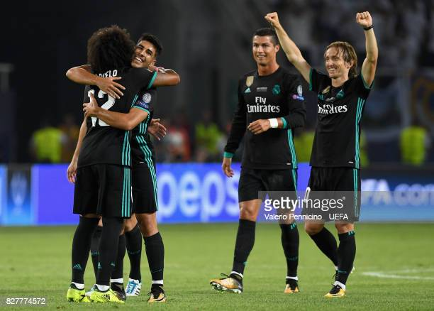 Marcelo of Real Madrid Luka Modric of Real Madrid and Cristiano Ronaldo of Real Madrid celebrate victory after the UEFA Super Cup final between Real...