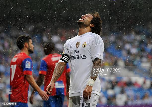 Marcelo of Real Madrid reacts during the La Liga match between Real Madrid CF and Levante UD at estadio Santiago Bernabeu on October 17 2015 in...