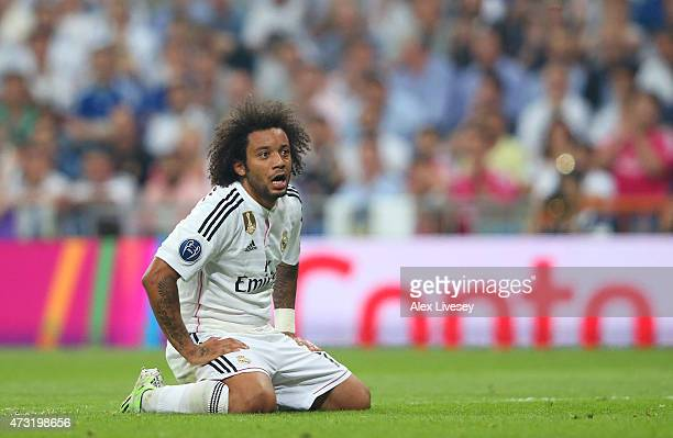 Marcelo of Real Madrid reacts during the UEFA Champions League Semi Final second leg match between Real Madrid and Juventus at Estadio Santiago...