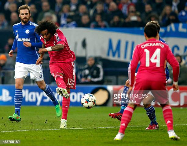 Marcelo of Real Madrid scores his team's second goal during the UEFA Champions League Round of 16 first leg match between FC Schalke 04 and Real...