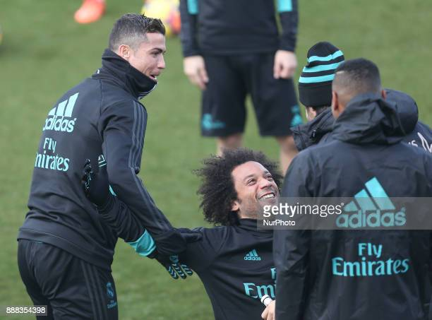 Marcelo of Real Madrid smiles during a training session at Valdebebas training ground on December 8 2017 in Madrid Spain