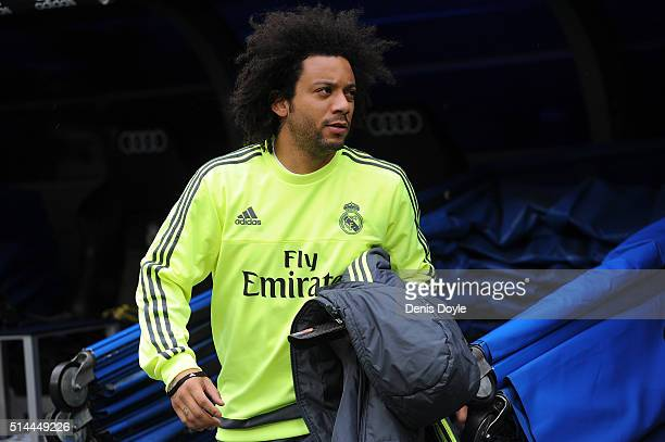 Marcelo of Real Madrid takes his place on the bench before the La Liga match between Real Madrid CF and Celta Vigo at Estadio Santiago Bernabeu on...